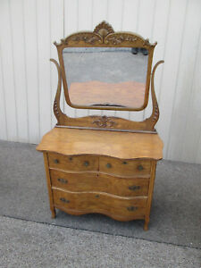 58762 Antique Victorian Oak Dresser With Carved Mirror
