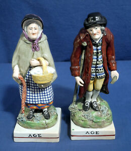 Vtg Antique Staffordshire Figurines Age Man Woman With Cane Ca 1830 Pearlware