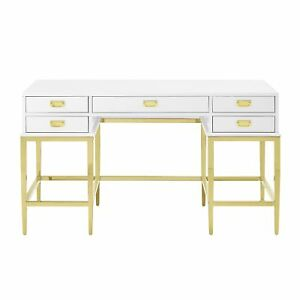 Contemporary Goldtone white Stainless Steel antique Glass 5 drawer Accent Desk