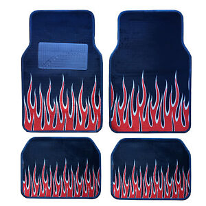New 4pc Set Front Rear Car Truck Carpet Blue Navy Floor Mats With Red Fire Flame