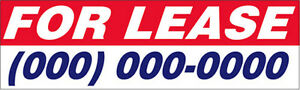 For Lease Vinyl Banner Custom Sign 3x10 Ft New add Your Phone