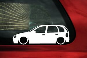 2x Lowered Car Stickers For Opel Corsa B 5 Door