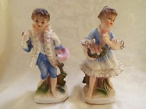 Enesco Japan Pair Boy Girl Blue Porcelain Bisque Lace Figurines