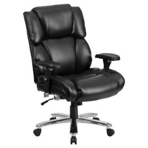 Executive Swivel Office Chair Furniture Black Leather With Lumbar Support Knob