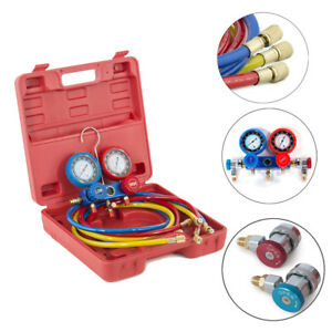 Manifold Gauge Set R134a Ac A c 6ft Colored Hose Air Condition Refrigerant Case