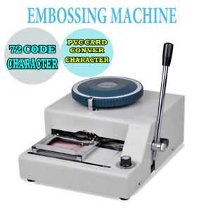 72 Character Letters Manual Embosser Machine Pvc Gift Card Credit Vip Stamping