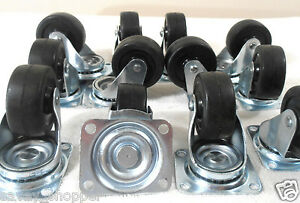 Lot Of 48 2 Inch Premium Swivel Rubber Wheel Caster Two Row Ball Bearing