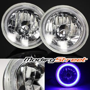 7 Inch Round H6014 6017 6024 Chrome Crystal Glass Blue Smd Halo Ring Headlights