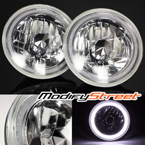 7 Inch Round H6014 6017 6024 Black Crystal Glass White Smd Halo Ring Headlights