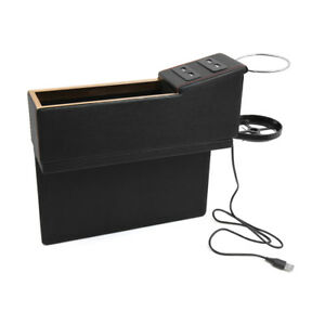Black 4 Usb Charger Car Seat Gap Catcher Storage Box Organizer With Cup Holder
