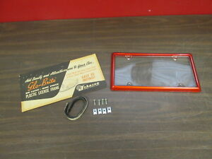 Vintage Ford Chevy Dodge Rat Rod Glo brite Red License Plate Frame Cover Nos 418