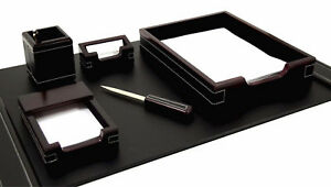 Desk Accessories westminster 6 piece Wood Black Leather Desk Set
