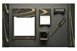 Desk Accessories windsor 6 piece Ebony Wood Black Leather Desk Set