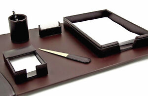 Desk Accessories eton 6 piece Brown Leather Desk Set