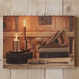 Country New Rustic Carpenter S Bench Led Lighted Canvas Print W Timer