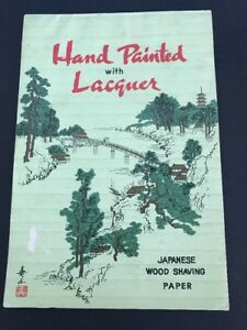 Antique Japanese Wood Shaving Paper Hand Painted With Lacquer 7 Sheets 6 5 X 10