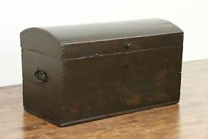Dome Top Pine Antique 1840 Immigrant Trunk Or Blanket Chest 28738