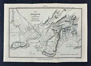 1849 Ancient Greece Map Syracuse Demosthenes Athenian Positions Sicily Italy