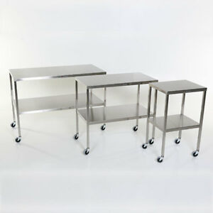 New Mcm 501 Stainless Steel Instrument Table With Shelf 16 w X 20 l X 34 h