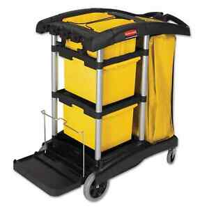 Rubbermaid Commercial Hygen Black yellow silver M fiber Healthcare Cleaning Cart