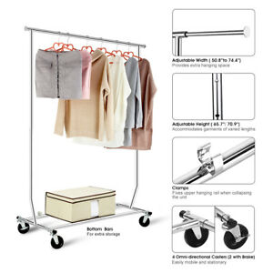 Rolling Adjustable Collapsible Clothes Rack Single Barrail Drying Garment Hanger