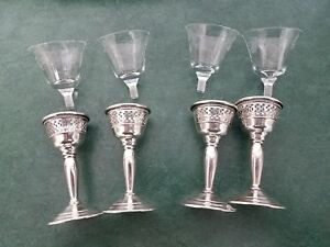 Set Of 4 El Sil Co Sterling Silver Etched Glass Screw In Cordial Glasses