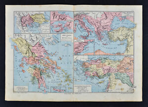 1885 Drioux Map Ancient Greece Athens Thermopylae Salamis Greek Heroic Age