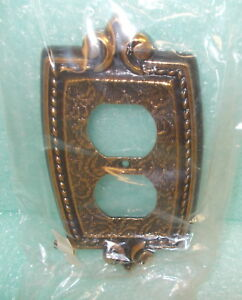 Sa Antique Brass Metal Outlet Cover Plate Upc 710534489027