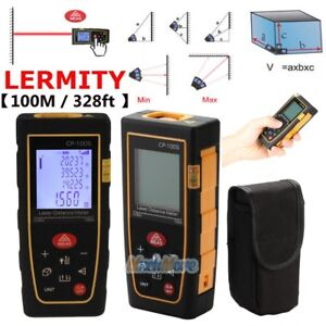 100m 328ft Digital Lcd Laser Distance Meter Range Finder Measure Tape Tool Usa