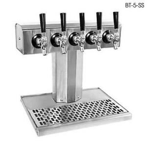 Glastender Bt 5 mfr 5 faucet Mirror Finish Glycol Tee Tower W drain Pan