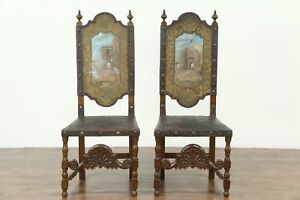 Pair Antique Leather Chairs Hand Painted Gates Toledo Segovia Spain 28754