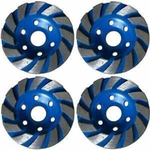 4 Pack 4 Concrete Turbo Diamond Grinding Cup Wheel For Angle Grinder 24 Segs
