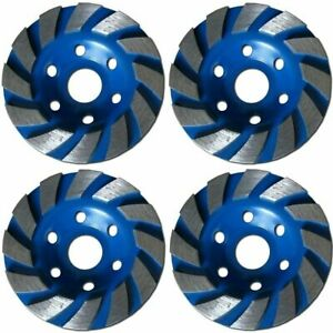 4 Pack 4 Concrete Turbo Diamond Grinding Cup Wheel For Angle Grinder 12 Segs