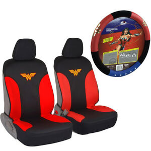 New Dc Comics Wonder Woman Car Truck Front Seat Covers Steering Wheel Cover