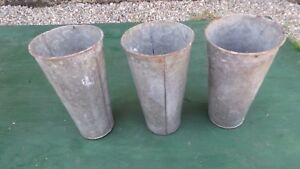 Vintage 3 Maple Syrup Old Galvanized Sap Tapered Buckets 13 High