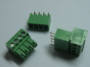 150x Screw Terminal Block Connector 3 5mm 4pin way Green Pluggable Type Straight