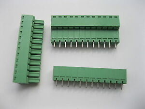 30 Pcs Screw Terminal Block Connector 3 5mm 12 Pin Green Pluggable Type Straight