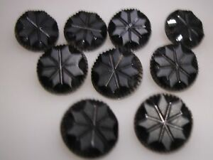 Antique Victorian Group Of 9 Matching Molded Black Glass Buttons