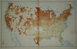 Vintage 1890 United States Map Proportions Of Foreign Born To Aggregate