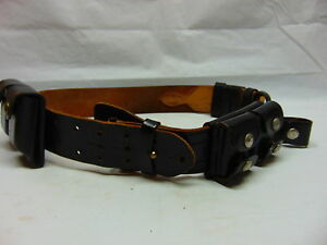 Don Hume Mens Sz 38 Waist Leather Gun Belt Black Leather Police Military Hunting