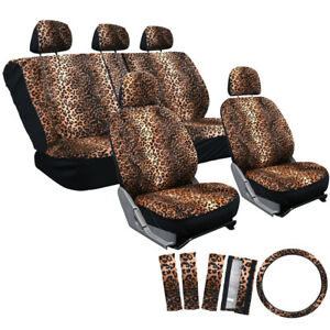 17pc Set Tan Beige Cheetah Leopard Auto Seat Covers Steering Wheel 1b