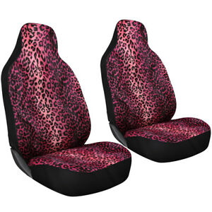 2pc Hot Pink Leopard Cheetah Print High Back Front Bucket Truck Seat Covers 2a