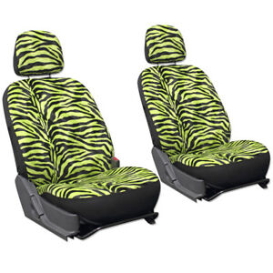 Truck Seat Covers For Toyota Tacoma Green Zebra Print Detachable Head Rest