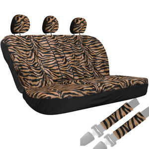 Truck Seat Covers For Toyota Tacoma Orange Bench Zebra Tiger Print W Head Rest