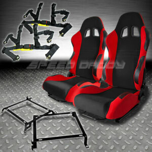 2 X Black Red T7 Racing Seats Bracket 4 Pt Belt Civic Ek9 Ek Acura Integra Dc1 2