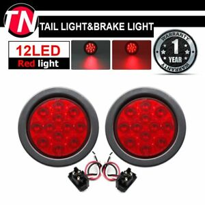 2 X 4 Superflux 12led Red Round Tail Stop Brake Signal Lights For Truck Trailer