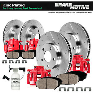 Front Rear Red Brake Calipers And Rotors Ceramic Pads For Ford F250 F350