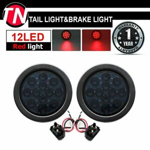 2x 4 Smoked Lens 12led Round Red Stop Brake Signal Rear Light For Trailer Truck