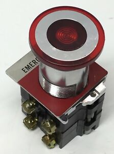 Cutler Hammer 10250t 91000t Illuminated Emergency E stop Pushbutton Switch 2 nc