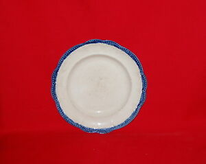 Antique English Leeds Pearlware Pottery Feather Bead Blue Edge Plate